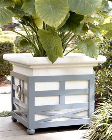Gray Outdoor Planters Large Gray Planter Traditional Outdoor Planters By
