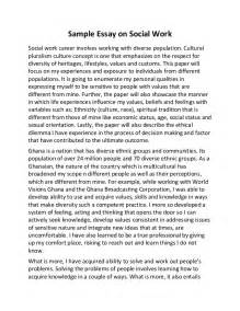 Social Problem Essay Exle by Sle Essay On Social Work