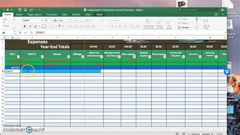 Independent Contractor Expense Report Template