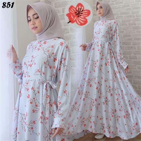 Set Gamis Syar I Motif Bunga Kipas gamis modern motif bunga cantik c851 baju muslim remaja