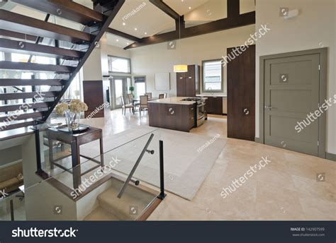 Inter Stairs And Kitchen Design Outlook Panorama Luxury Modern Living Space Stock Photo 142907599