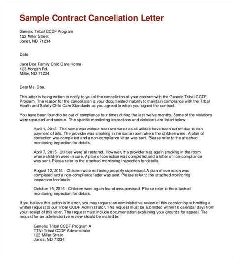 Contract Letter Exle Letter To Cancel Contract Letter Idea 2018