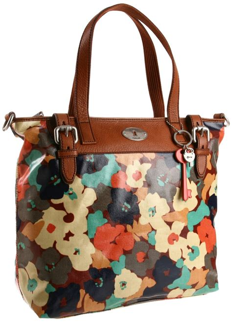 Fossil Tote Floral fossil key per tote in blue floral lyst