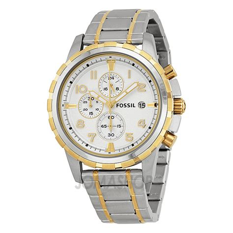 Fossil Fs4795 Dean Chronograph Silver Stainless Steel Fossil Dean Chronograph Silver Two Tone S
