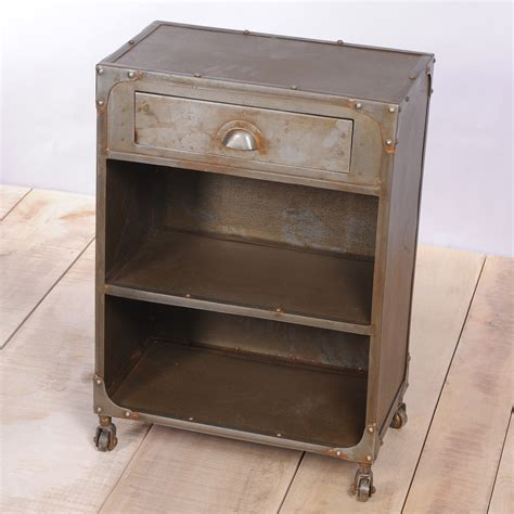 unique bedside table distressed metal bedside table with drawer and shelves