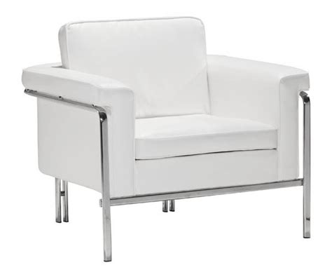 white leather armchair with chrome legs white leather contemporary chair with chrome legs and