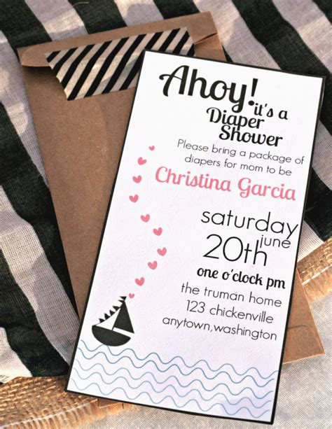 Nautical Theme Baby Shower Invitations by Ahoy A Nautical Themed Baby Shower With Free Printable