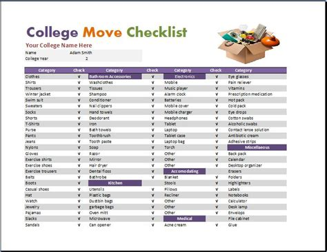 college room checklist room checklist template word excel templates