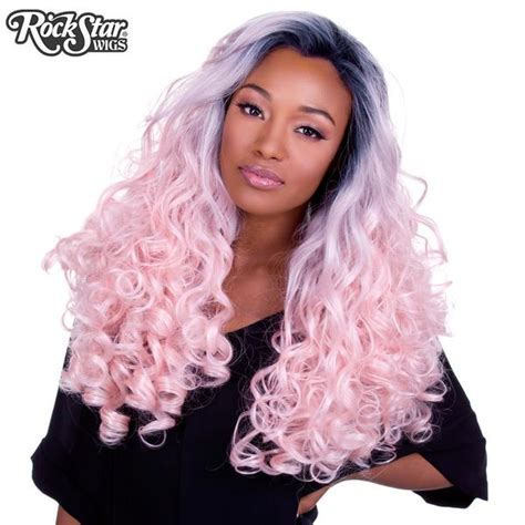 lace front curly dark roots powder pink  rockstar wigs