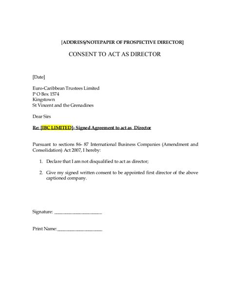 consent letter format of director to act as director ibc application for business form caribbean