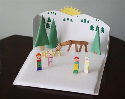 How To Make A Diorama Out Of Paper - cereal box winter diorama 183 kix cereal