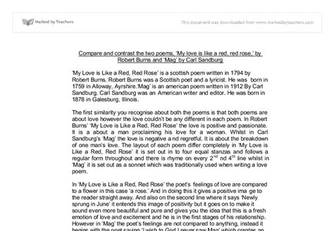 Comparing Poems Essay by Comparing And Contrasting Poetry Essays