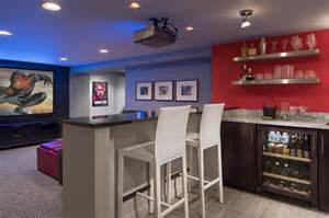 Home Theater With Wet Bar