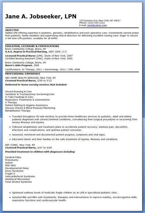 Lpn Resume Objective by Sle Lpn Resume Objective Creative Resume Design