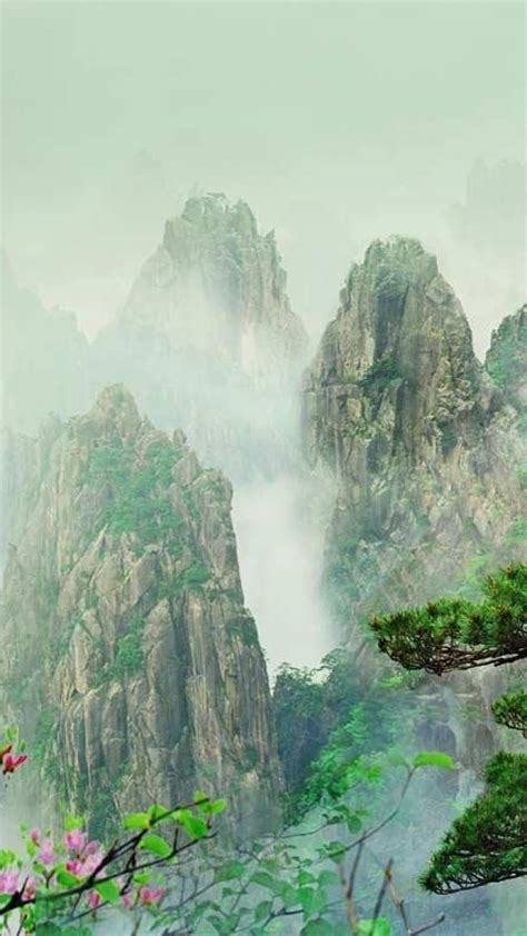 mountains landscapes china fog bing wallpaper