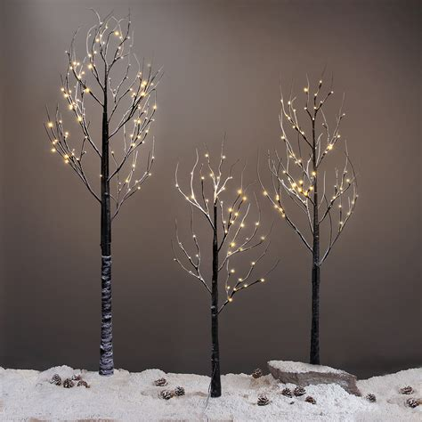7ft tree with lights 7ft 120led black twig snowy tree light for home