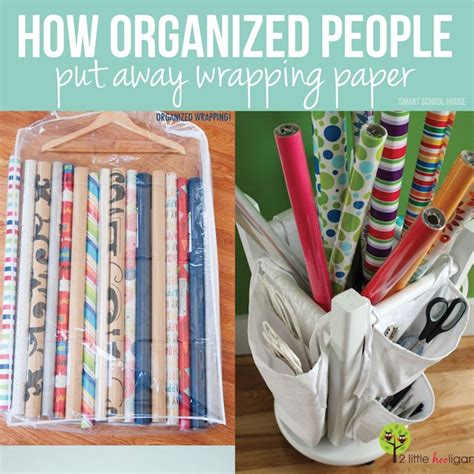 organized person how to organize wrapping paper