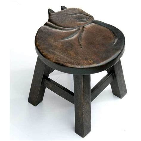 Kitten Stool by Carved Cat Stool