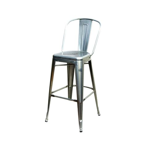 tolix bar stools with back high back galvanized silver finish tolix bar stool