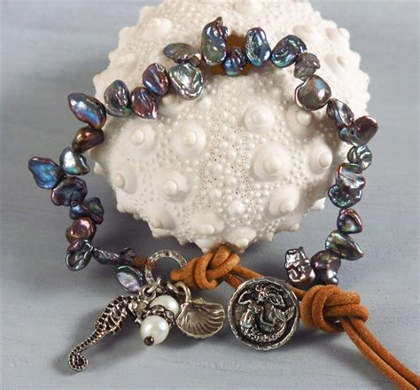 Handmade Pearl Bracelets - handmade boho blue keishi pearl bracelet handmade jewelry