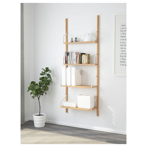 svaln 196 s wall mounted shelf combination bamboo 66x25x176 cm