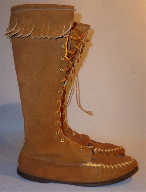 indian boots for vintage usa 60 s nos high leather moccasin indian hippie