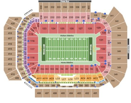 kyle field section map texas a m aggies football season tickets package includes