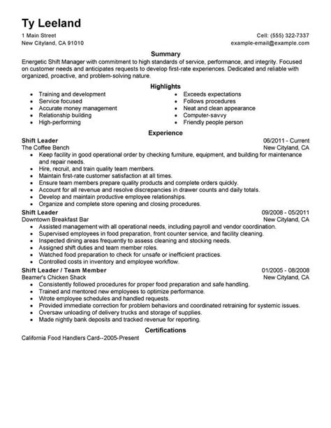 fast food shift manager resume exle best hourly shift manager resume exle livecareer