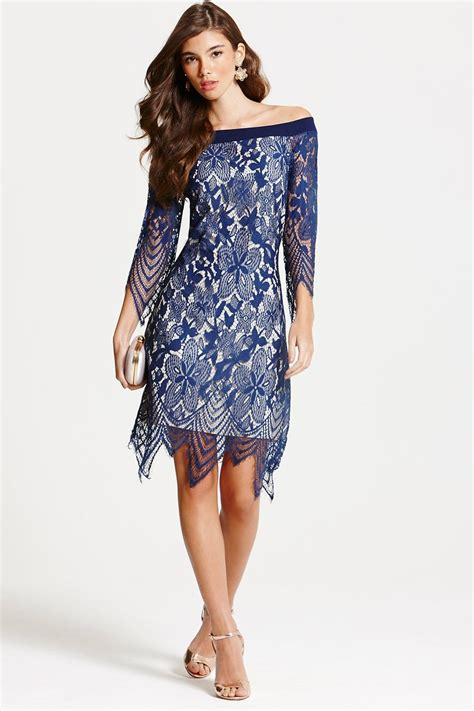 navy lace bardot tunic dress from uk