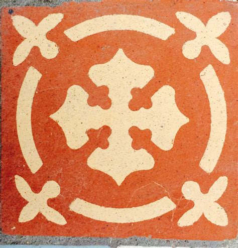 Buff Circle Pattern 2 antique encaustic 3 quot tile buff colour