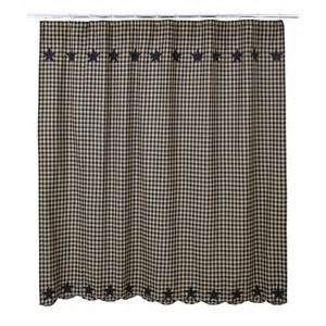 Country folk art black tan check star fabric shower curtain ebay