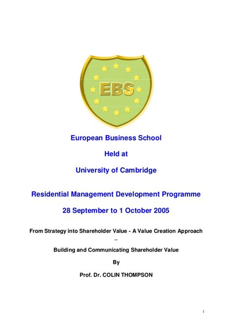 Ebs Mba Student Login by From Strategy Into Shareholder Value Ebs