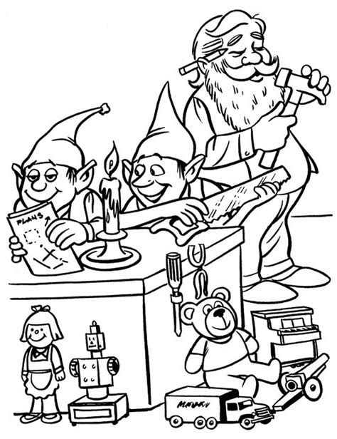 coloring pages elves santa elves and santa christmas coloring pages for kids