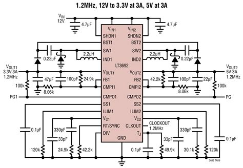 12v to 5v using resistor solutions lt3692 dual 12v to 3 3v 5v at 3a 1 2mhz tracking step regulator