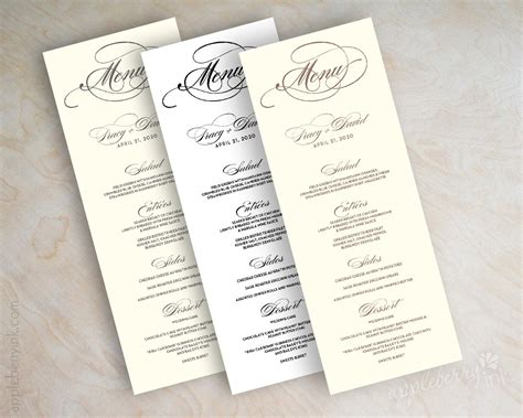 printable menu card wedding menu card printable wedding menu diy wedding menu