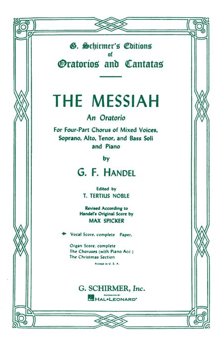 messiah sheet music by george frideric handel sheet
