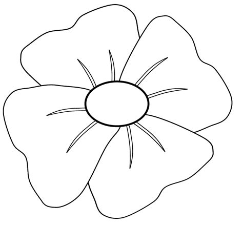 poppy template for children how to draw a poppy clipart best