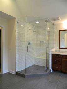 Glass Enclosed Shower With Bench Gray Tile Flooring With Subway Tile Shower Walls And Bench