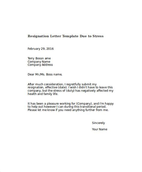 Resignation Letter Sle Due To Health Issues Resignation Letter Due To Stress Template 7 Free Word Pdf Format Free Premium