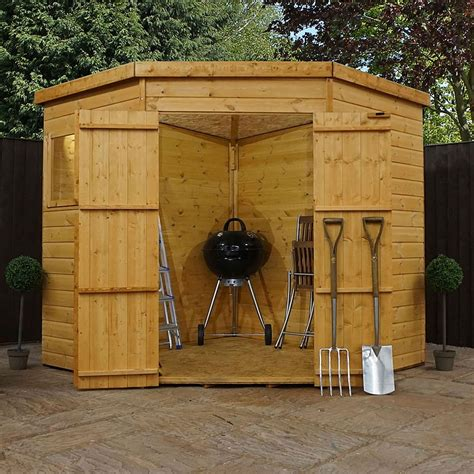 waltons tongue  groove wooden corner shed