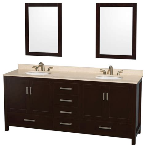Oval Bathroom Vanity by Sheffield 80 Quot Espresso Vanity With Ivory Marble Top