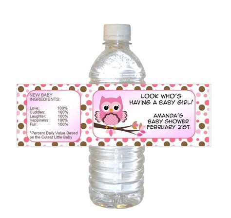 Baby Shower Water Bottle Labels by Personalized Pink Owl Baby Shower Waterproof Water Bottle