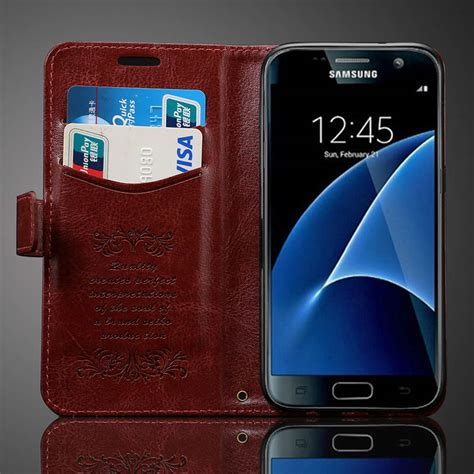Promo Samsung Galaxy S7 Edge Flip Pu Leather Wallet For Samsung aliexpress buy s7 s7 edge vintage wallet pu leather for samsung galaxy s7 g9300