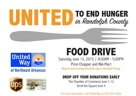 northeast arkansas united way food drive june 1st 13th