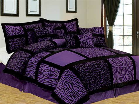 purple and black bedding sets 7 pc safari patchwork micro fur comforter set giraffe