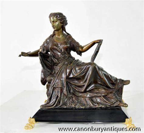 Classix Statue classic italian reclining maiden lyre bronze statue figurine