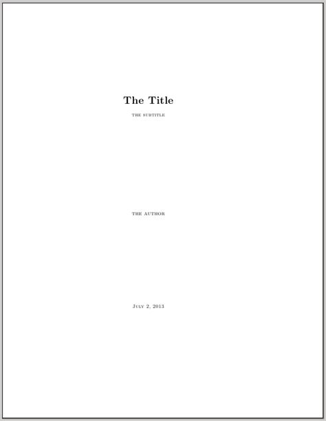 How To Make A Title Page For A Research Paper - a title page with a subtitle in memoir tex