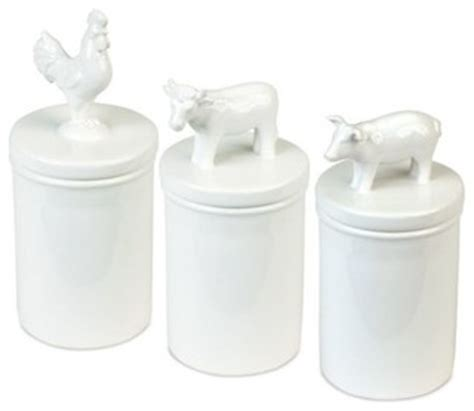 pig kitchen canisters white pig cow and rooster barnyard animal canisters traditional kitchen canisters