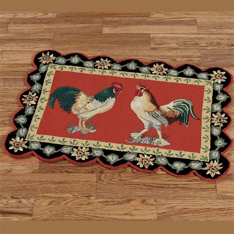 kitchen rugs with roosters barnyard rooster rugs