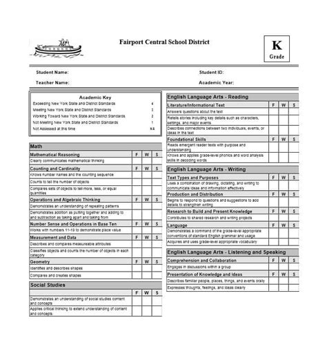 semester report card template elementary school report card template www pixshark